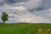 Windsock blown by the wind with overcast sky, lonely tree and green lawn.