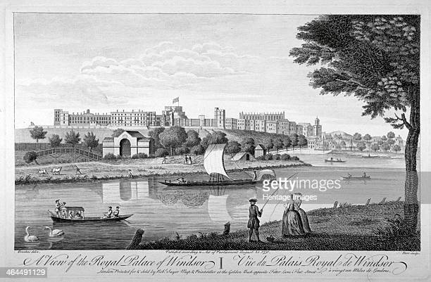 Windsor Castle Berkshire 1751 View of the castle with a figure fishing on the bank in the foreground Swans and boats can be seen on the river