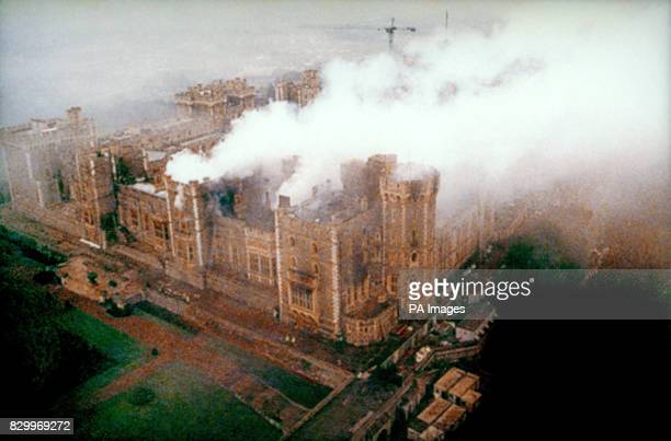 Windsor Castle the morning after the fire which severely damaged large sections the gothic building 17/11/97 6 months ahead of schedule and 3 million...