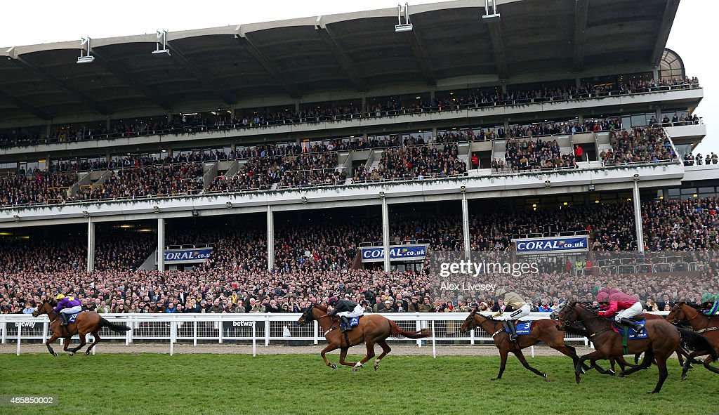 Windsor Park ridden by Davy Russell passes the grandstand on their way to victory in the Neptune Investment Management Novices' Hurdle during Ladies...