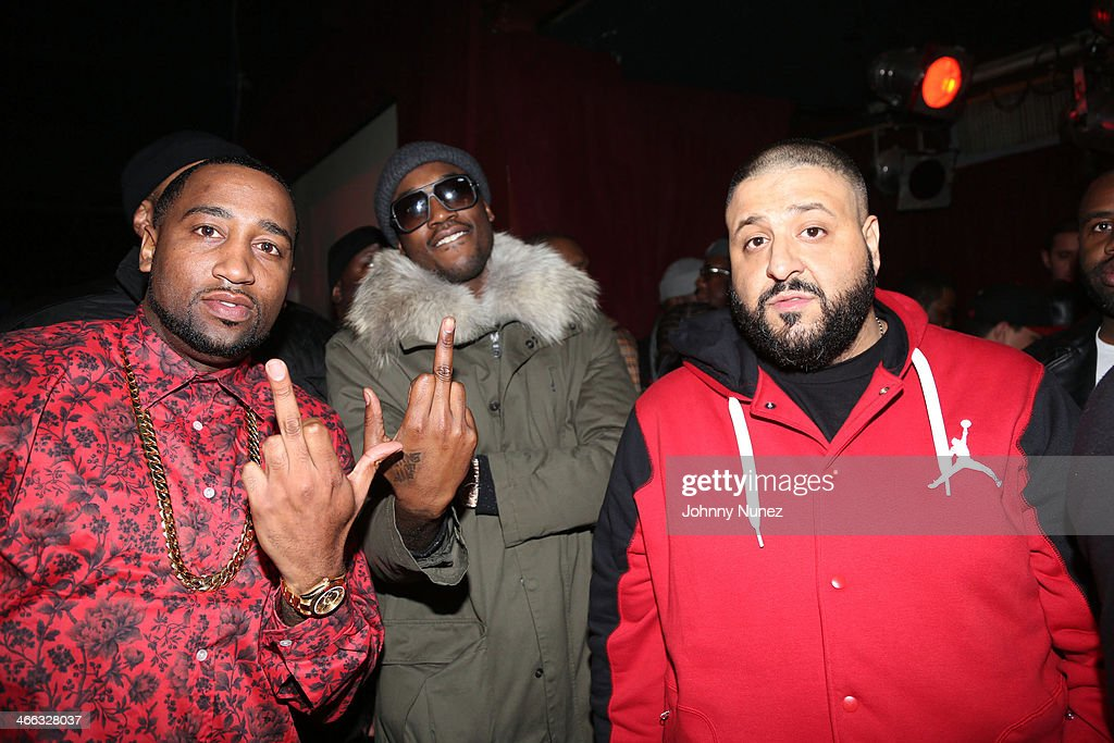 Windsor 'Slow' Lubin, Meek Mill, and DJ Khaled attend The Legendary Tunnel Party at B.B. King Blues Club & Grill on January 31, 2014 in New York City.