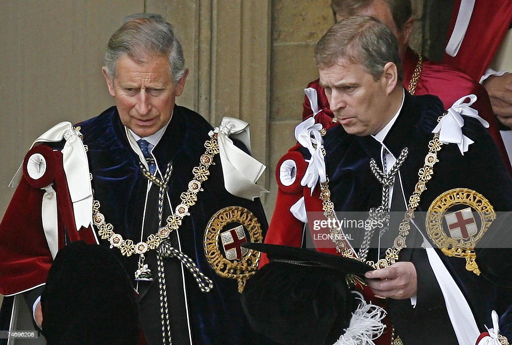 Britain's <a gi-track='captionPersonalityLinkClicked' href=/galleries/search?phrase=Prince+Charles&family=editorial&specificpeople=160180 ng-click='$event.stopPropagation()'>Prince Charles</a> (L) and <a gi-track='captionPersonalityLinkClicked' href=/galleries/search?phrase=Prince+Andrew+-+Duc+d%27York&family=editorial&specificpeople=160175 ng-click='$event.stopPropagation()'>Prince Andrew</a> depart after attending the Garter service at St George's Chapel at Windsor Castle, in Windsor, in south-east England, 18 June 2007. Windsor Castle plays host to the annual Order of the Garter Service which celebrates the traditions and ideals associated with the Most Noble Order of the Garter, the oldest surviving order of chivalry in the world. AFP PHOTO/LEON NEAL/WPA POOL/AFP