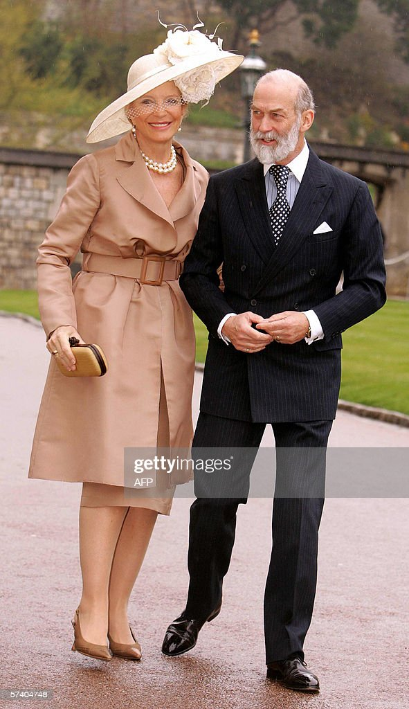 The Prince and Princess Michael of Kent arrive at St George's Chapel at Windsor Castle, 23 April 2006, for a special service of thanksgiving marking Queen Elizabeth II's 80th birthday. In yet a further homage for her 80th birthday, Queen Elizabeth II was hailed 23 April for imparting a 'sense of calmness, serenity and stillness' to Britons buffeted by a turbulent world. In contrast to the smiles she flashed at the fireworks and public displays of affection on her birthday on Friday, the queen sat quietly for the tribute at a solemn church service at Windsor Castle, west of London. The sermon in St George's Chapel, the burial place of 10 monarchs, echoed messages given last week by British politicians and by Prince Charles, her son and heir to the throne, who called her his 'darling Mama.' AFP PHOTO/FRANK BARRETT/POOL