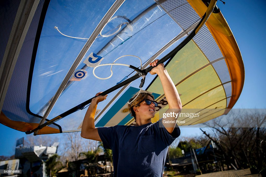 Windsurfer Bautista Saubidet of Argentina during an exclusive photo session at Peru Beach on June 29, 2016 in San Isidro, Buenos Aires, Argentina.