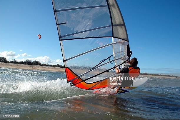 Windsurfer cutting waves!