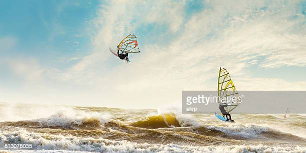 Windsurfers enjoying a stormy day in the Netherlands