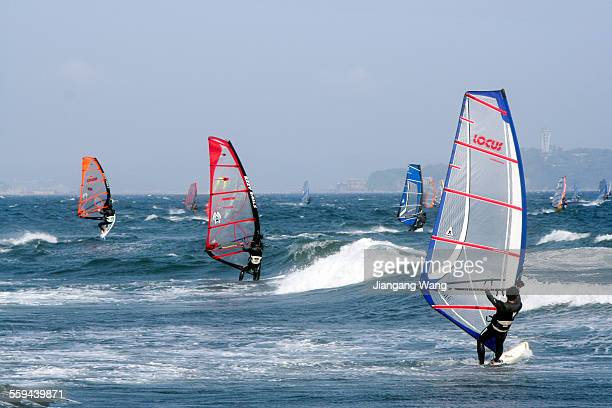 Fujisawa Kanagawa Prefecture Japan April 30 2006 Windsurfing in the sea of Enoshima