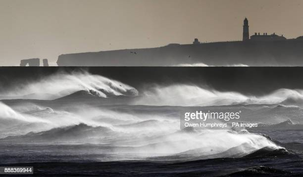 Windy conditions on the North East coast in South Shields Tyne amp Wear as parts of Britain woke up to a blanket of snow caused by an Arctic airflow...