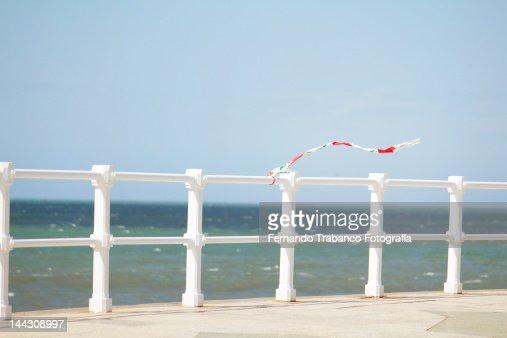 Windy day in Gijon : Stock Photo