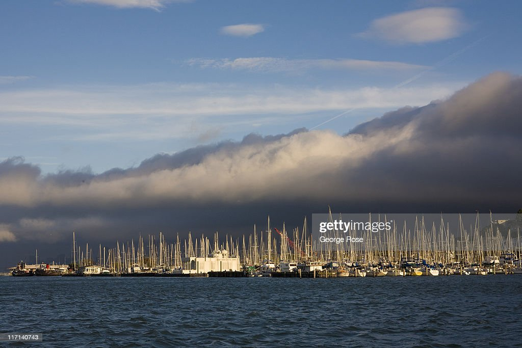 A windy, foggy day with clouds rolling across the Sausalito Marina keeps most of the boats at their berth on June 11, 2011 in Sausalito, California. The San Francisco Bay is home to thousands of sailing enthusiasts and will be the site of the 2013 America's Cup.