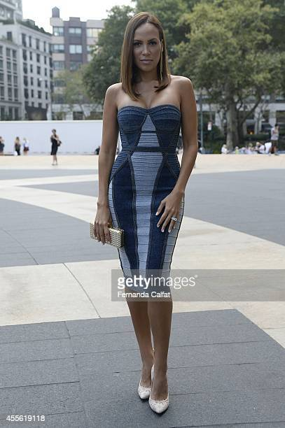 Windy Paganno is seen wearing Herve Leger and vintage bag during MercedesBenz Fashion Week Spring 2015 at Lincoln Center on September 5 2014 in New...