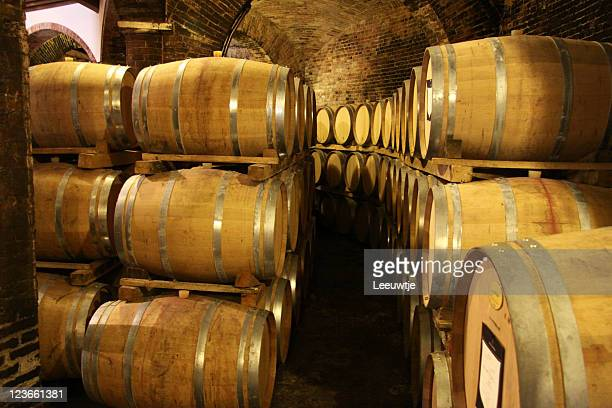 wine aging in oak barrels