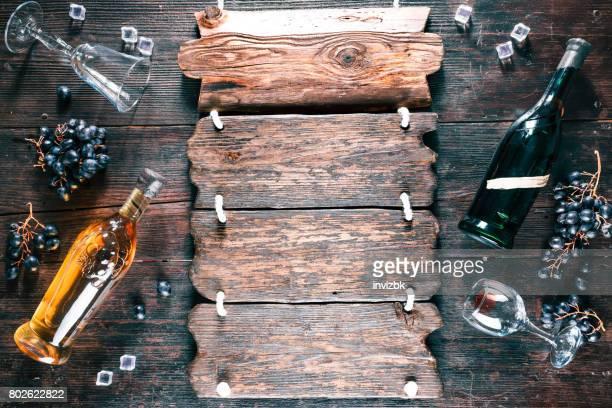 Wein und Traubensaft Retro-Stil Hintergrund