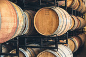 Wine barrels aging