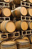 Wine barrels in storage, Santa Maria, California