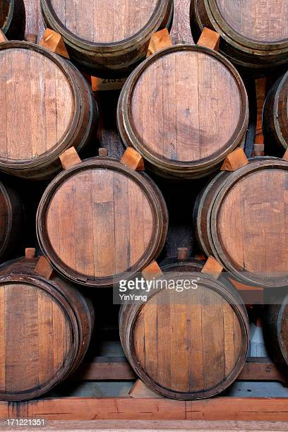Wine Barrels Stacked Inside Winery Cellar, Aging in Napa Valley