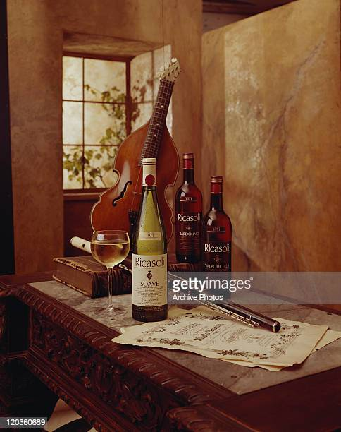 Wine bottle and glass with violin