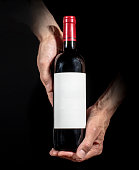 Wine label design template. Red wine bottle with empty label.
