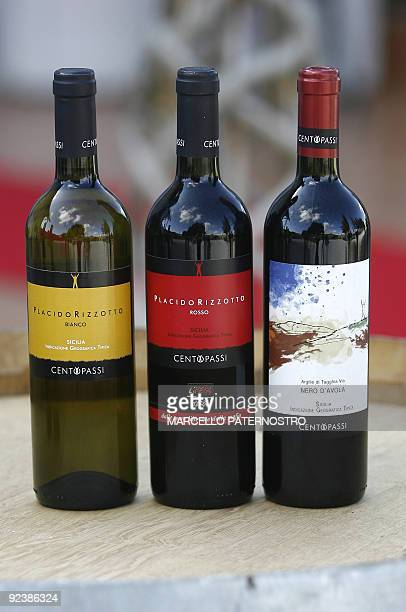 Wine bottles are pictured in San Cipirello on October 27 2009 during the official opening of the wine factory 'Centopassi ' Libera an Italian...