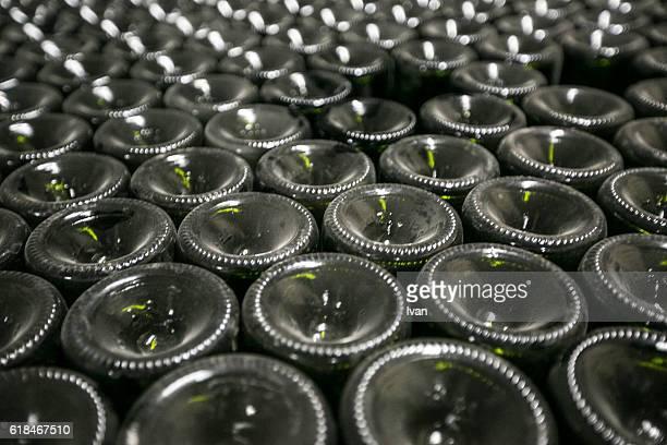 Wine Bottles Arranged In A wine cellar in a vineyard in La Rioja, Spain