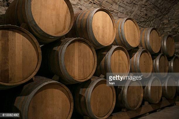 Wine Bottles Arranged In A wine cellar in a vineyard