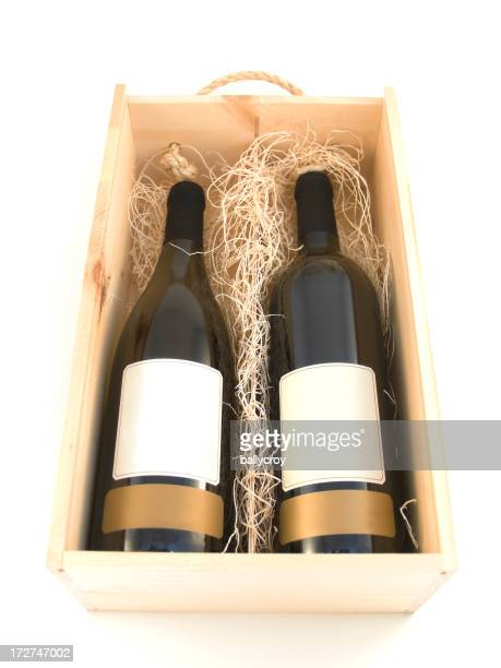 Bouteilles de vin dans une boîte à cadeaux