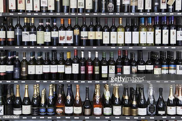 Wine bottles in wine shop