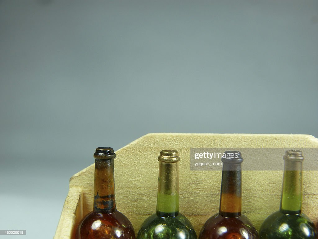 Wine bottles miniature : Stock Photo