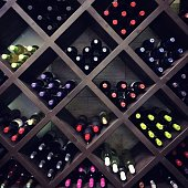 Wine bottles on the shelves