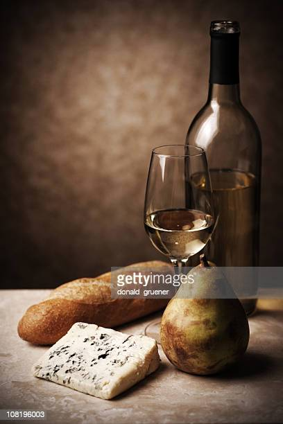 Wine, Cheese, Pear and Bread Still Life