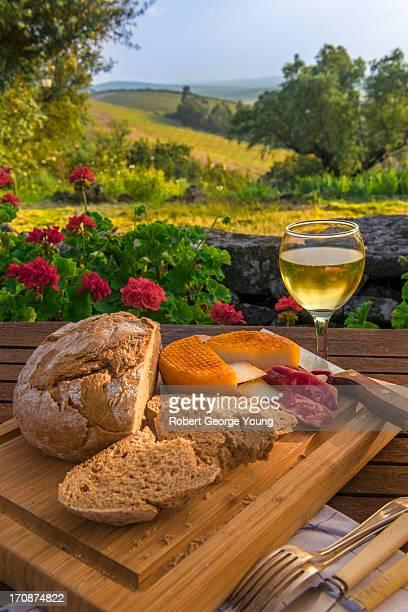 Wine, Cheese & View of Vineyard, Portugal