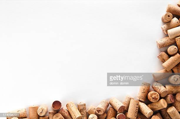 Wine corks frame isolated on white background