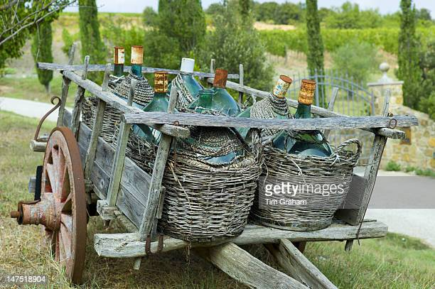 Wine Flagons Farm Cart Montalcino, Tuscany, Italy