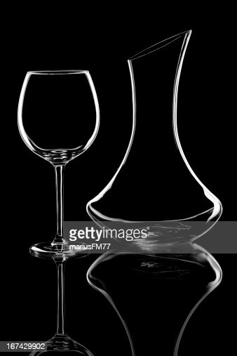 Wine glass and carafe : Stock Photo