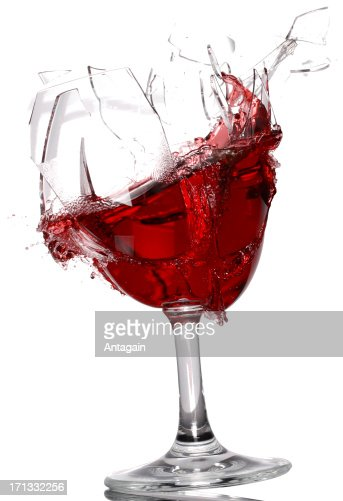 Wine glass breaking : Stock Photo