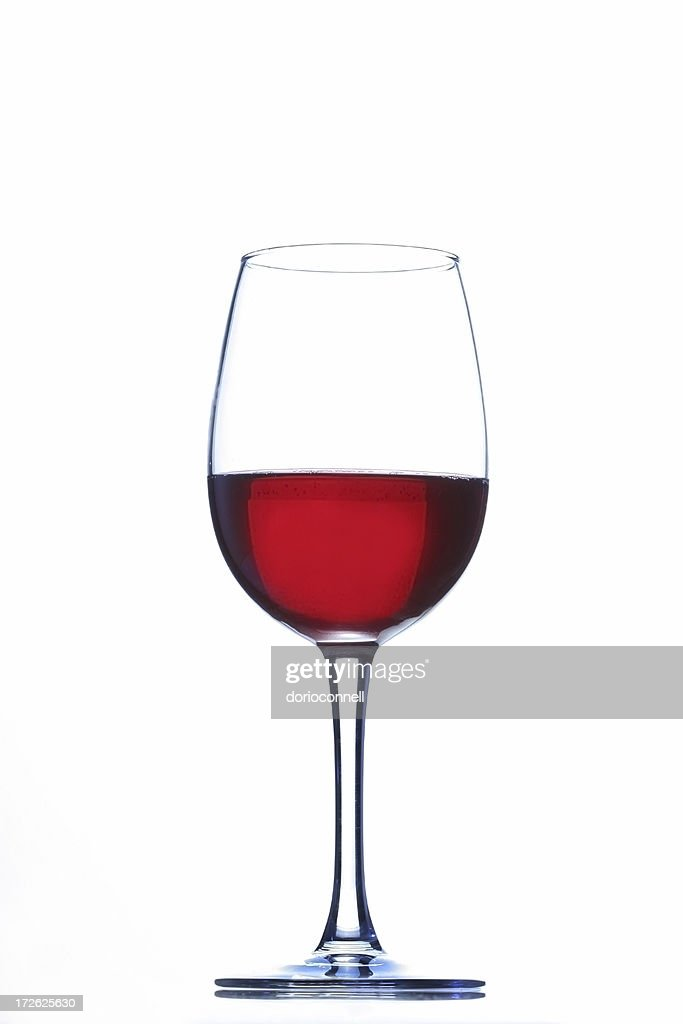 Wine glass with red wine inside