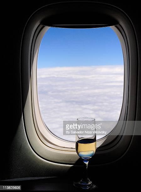 Wine glass with window throuigh sea
