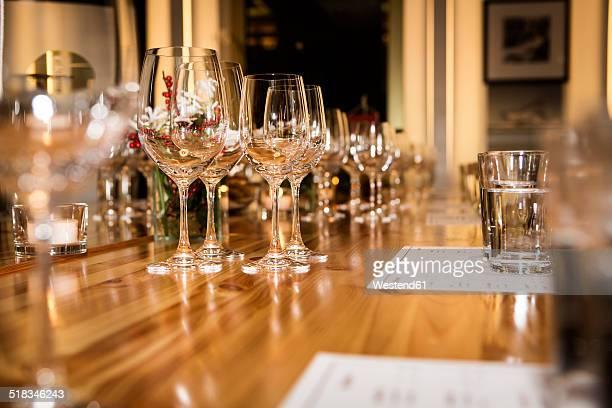 Wine glasses on laid table