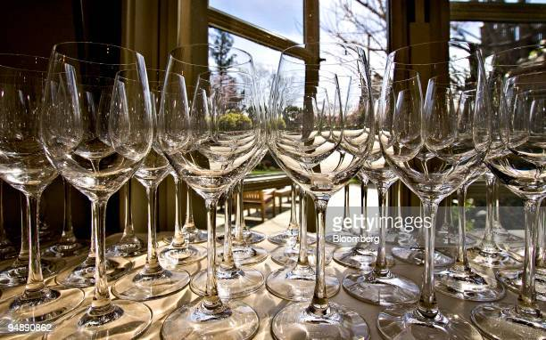 Wine glasses wait to be placed on tables at French Laundry Thomas Keller's threestar Michelin rated restaurant in Yountville California US on Tuesday...
