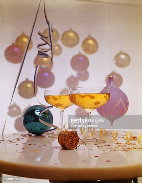 Wine glasses with party decoration on table, close-up