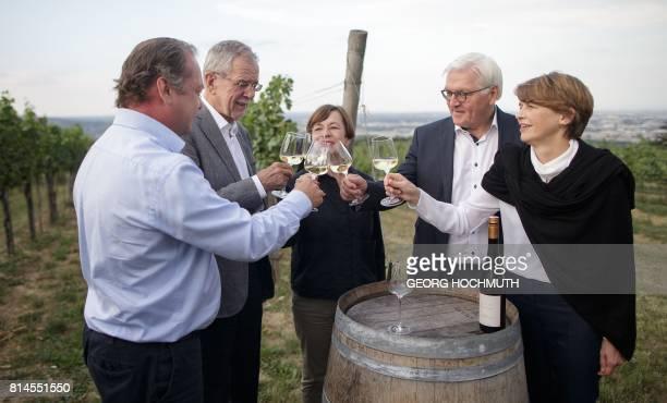 Wine grower Fritz Wieninger Austrian President Alexander Van der Bellen and his wife Doris Schmidauer German President FrankWalter Steinmeier and his...