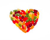 Wine gums grouped in a heart shape