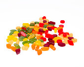 Wine gums grouped in colors