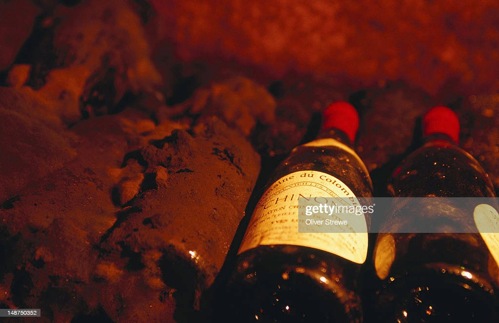 Wine in cave Chinon in Loire Valley.