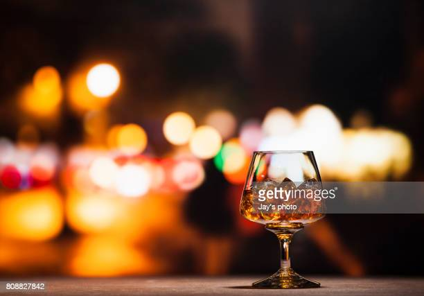 Wine in city abstract background