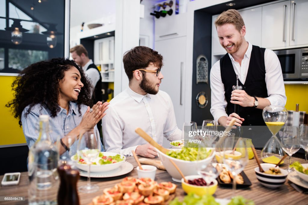 Wine is opened, let's get this party started : Stock Photo