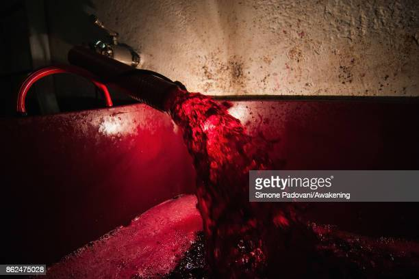 Wine is seen during a decants on October 17 2017 in the Barolo region Italy Because of the high summer temperatures Barolo's harvest has been...
