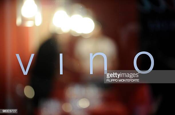 'Wine' is written at the entrance of a tasting area on the first day of the 44th Vinitaly wine fair in Verona on April 8 2010 150000 visitors are...