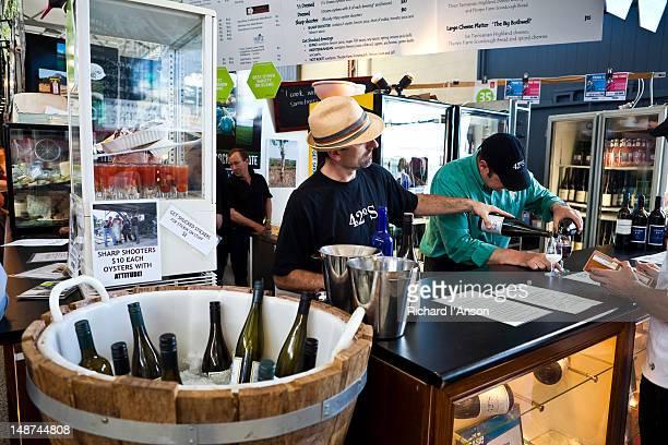 Wine maker's stall at Taste of Tasmania: Festival of Tasmanian Food and Wine.