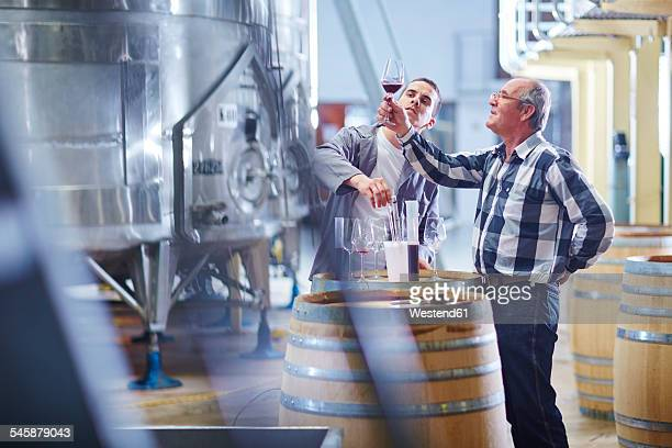 Wine makers testing wine blend